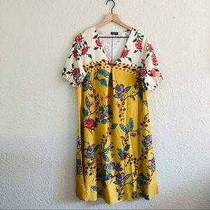 Noracora Yellow Floral V-Neck Maxi Dress